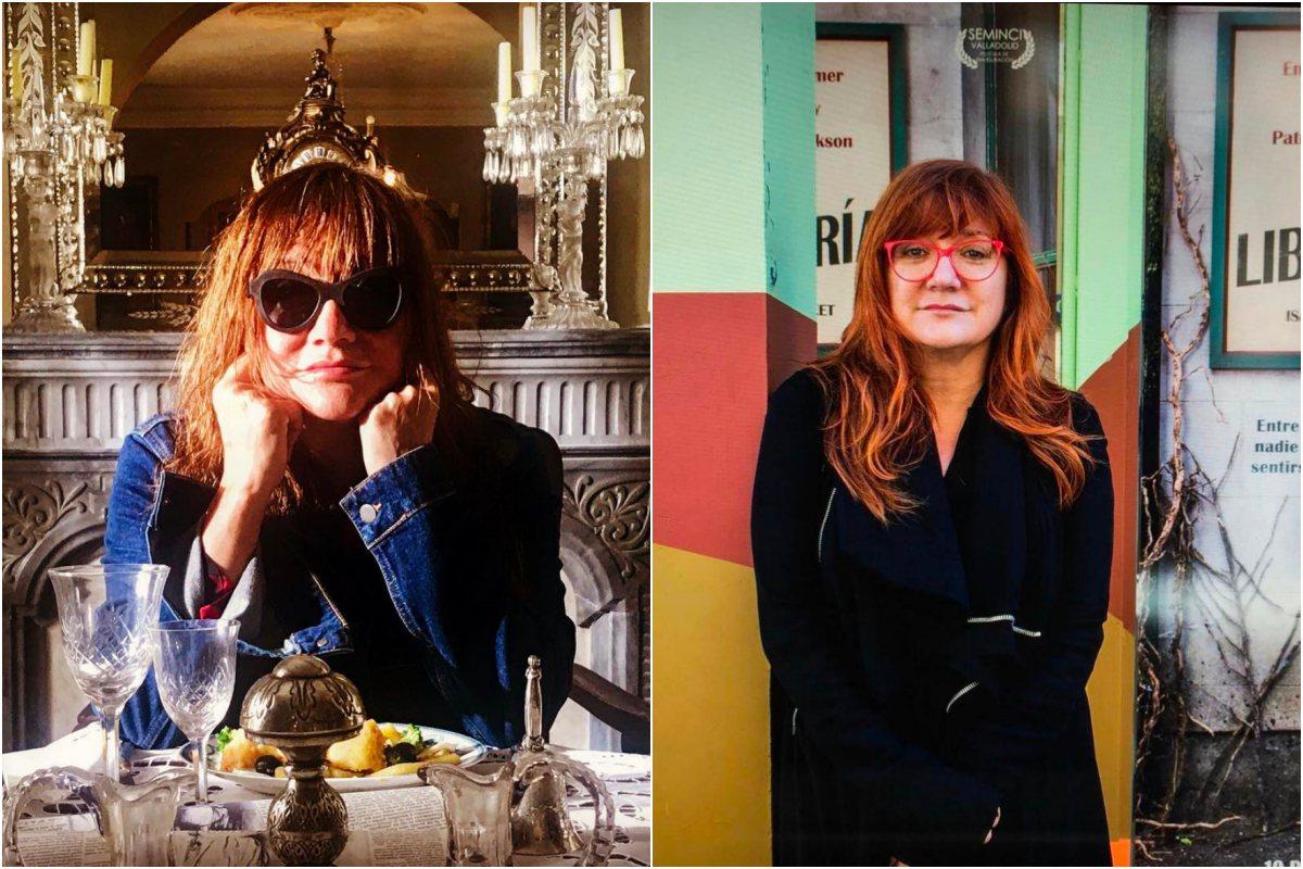 Isabel Coixet sentada a la mesa y durante la semana de Cine de Valladolid. Fotos: Instagram