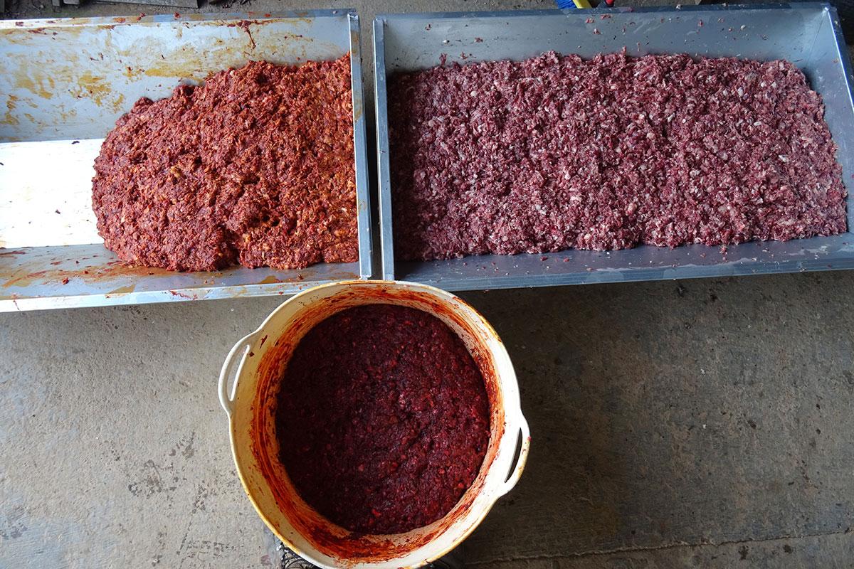 Artesas llenas con las mezclas de los embutidos durante la matanza del cerdo ibérico en la comarca de Los Barros, Badajoz.