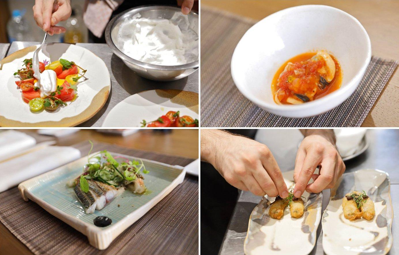 Ensalada de tomate con 'mousse' de leche de cabra; calabaza asada, 'clóchinas' y salsa marinera; caballa y berenjena asada con emulsión de ajo negro; y sardina en tempura.