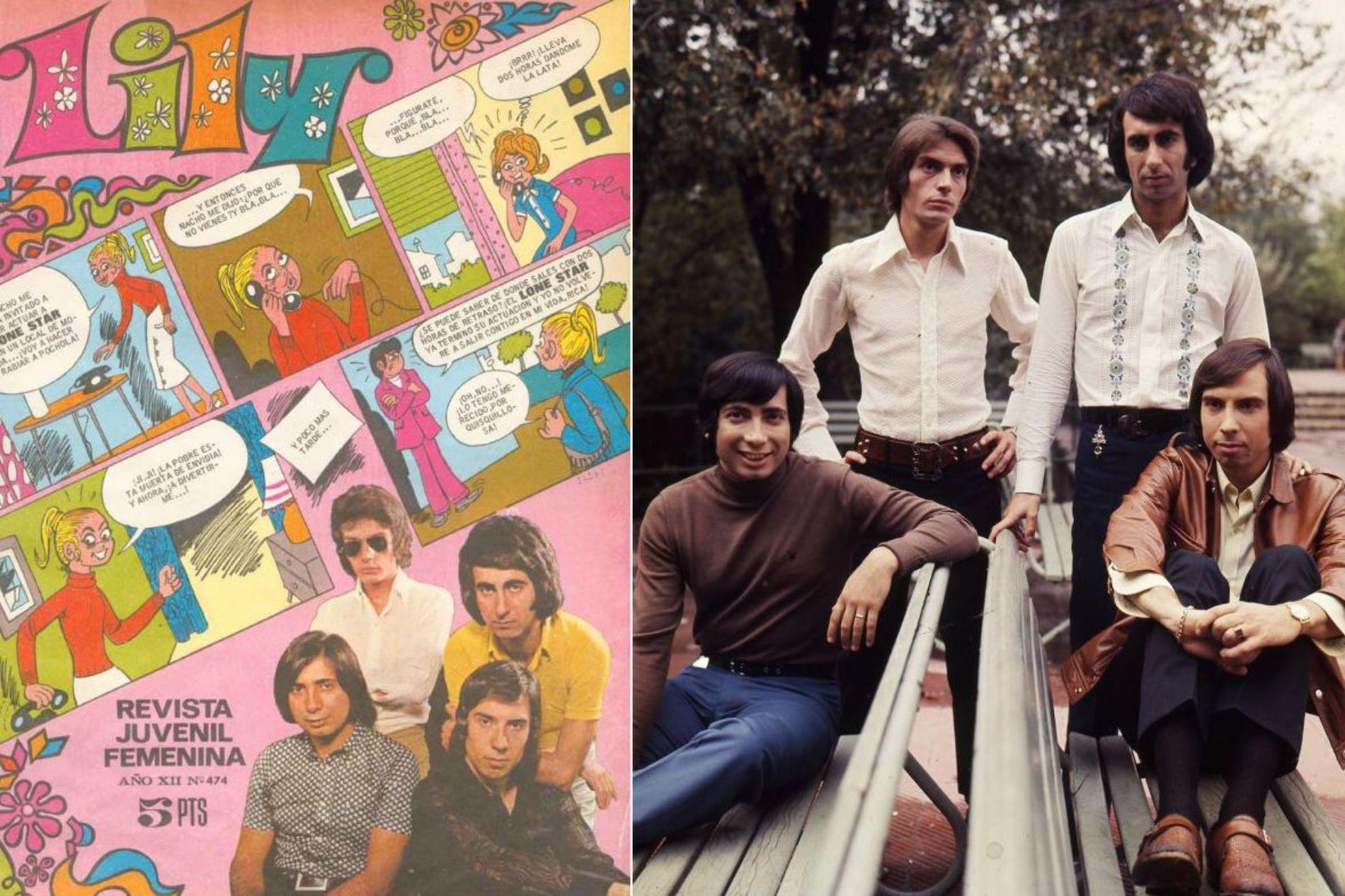 El deseado grupo Lone Star en la portada de una revista femenina de la época y durante una gira, en los 70. Foto: Facebook.