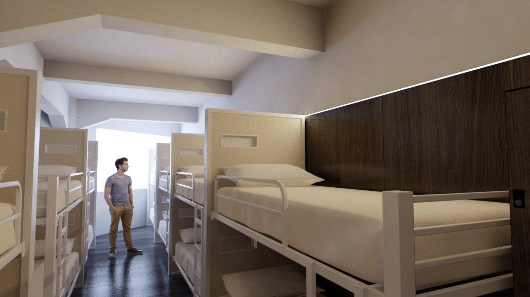 Una de las habitaciones de Poshtel Bilbao con literas individuales