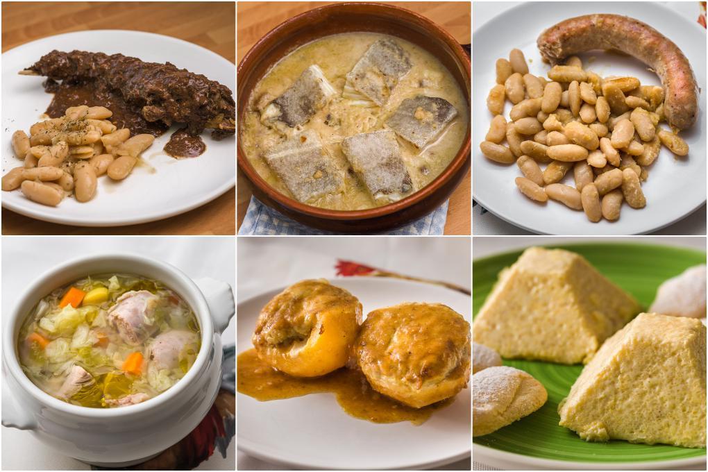 Diferentes platos de la gastronomía catalana.