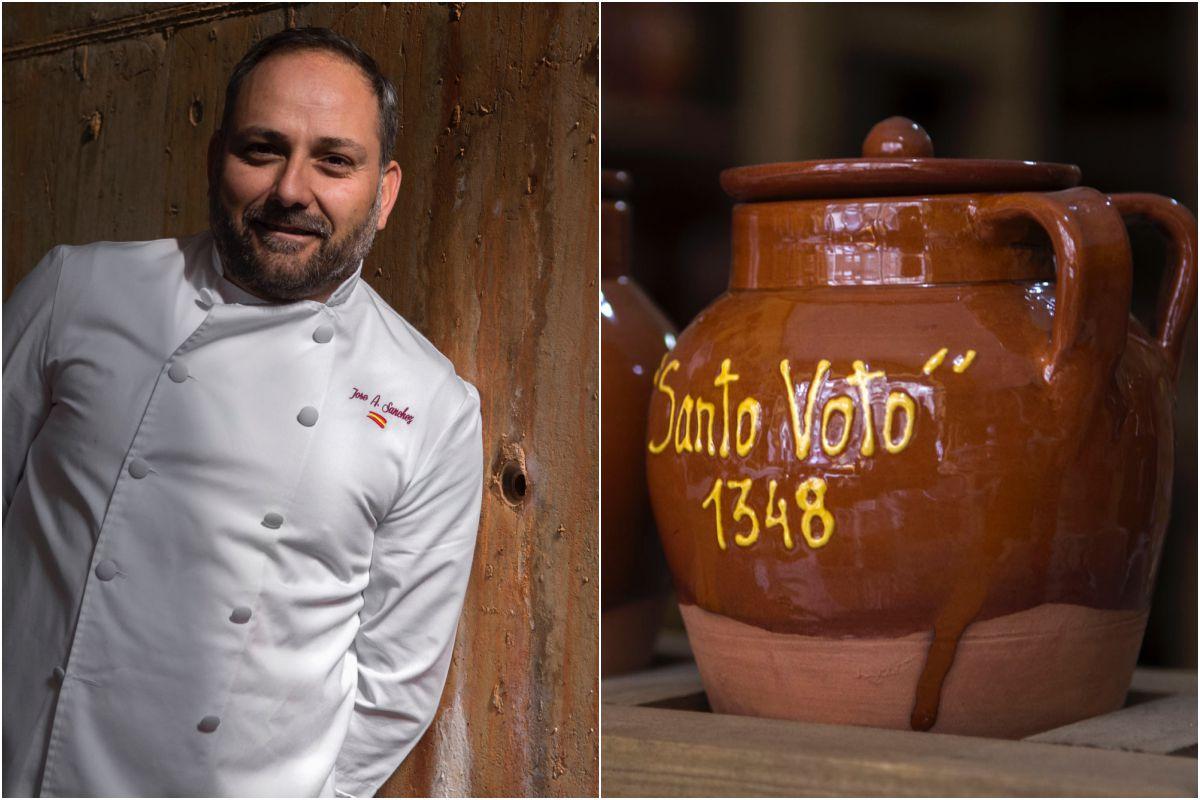 El cocinero José Ángel Mayas, y vasijas de cerámica de la festividad del Santo Voto.