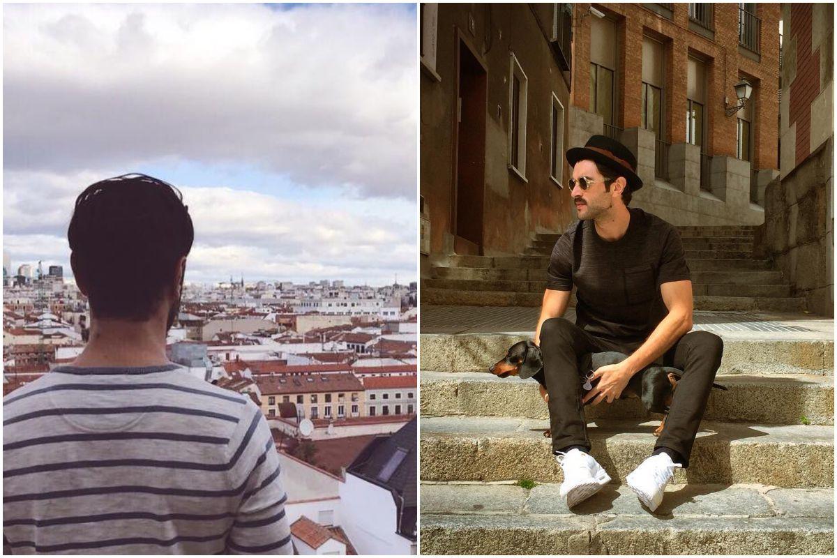 El actor Javier Rey mirando los tejados de Madrid y en La Latina, con su perro Vito.