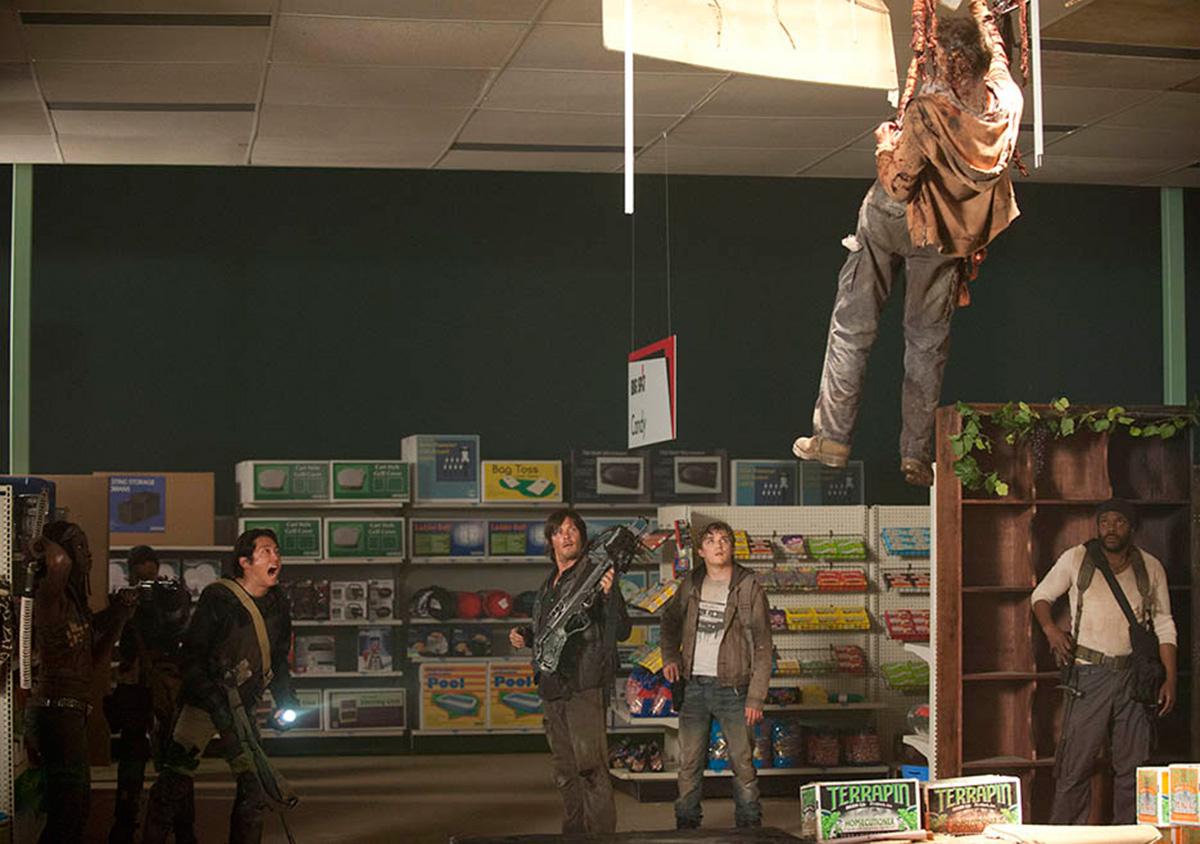 Una escena en un supermercado de la famosa 'The Walking Dead'.