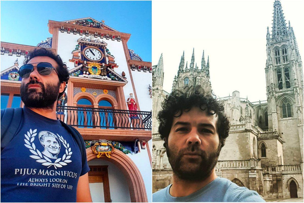 """A la izquierda, en Palos de la Frontera. A la derecha, """"camino de Santander, Burgos, espectacular como siempre..."""", dice el actor. Foto: Instagram"""