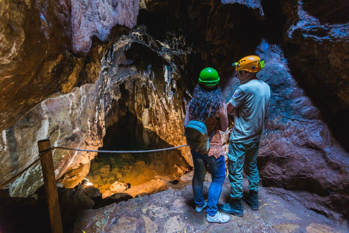 Mirando en silencio el área donde habitan los murciélagos en la Cueva del Agua, de las Cuevas de Fuentes de León, en la provincia de Badajoz.
