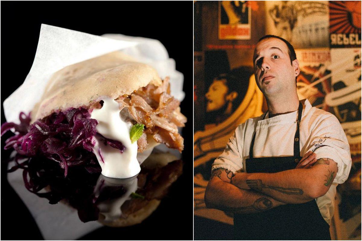 Un kebab del restaurante A Fuego Negro y retrato del cocinero Edorta Lamo