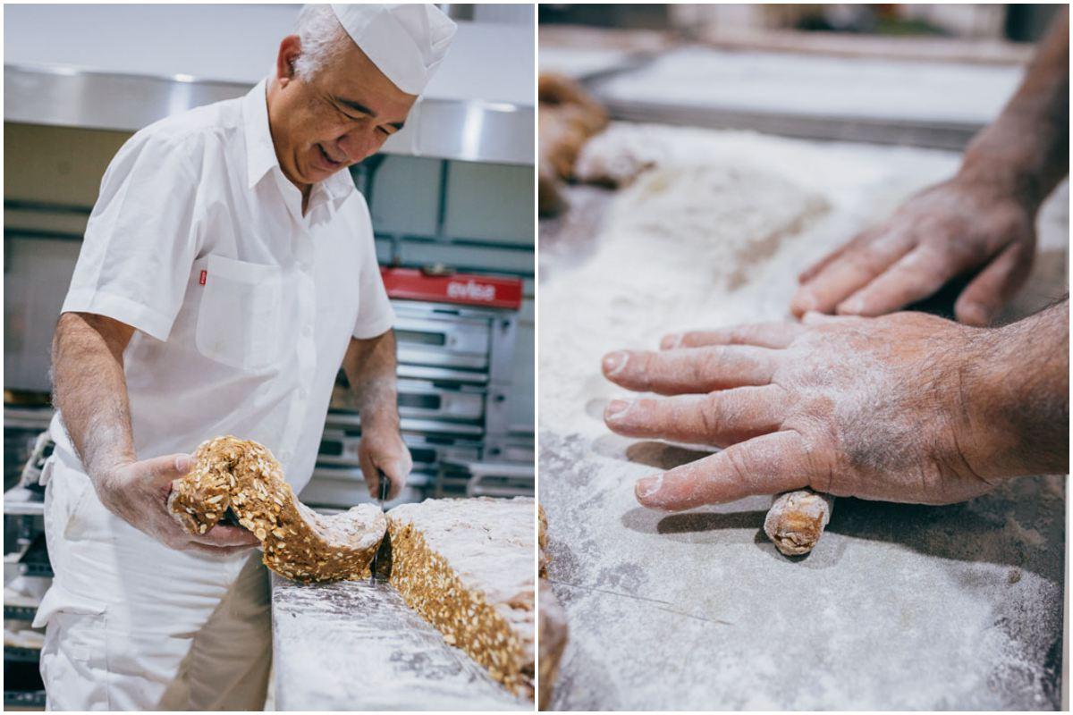 La gran galleta se corta y se le da forma de rulo con las manos.
