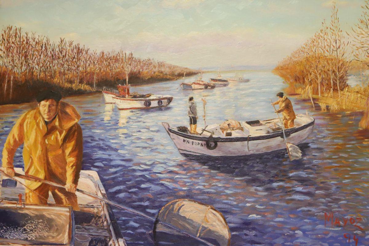 Una pintura en 'Angulas Mayoz' homenajea la pesca de angulas.