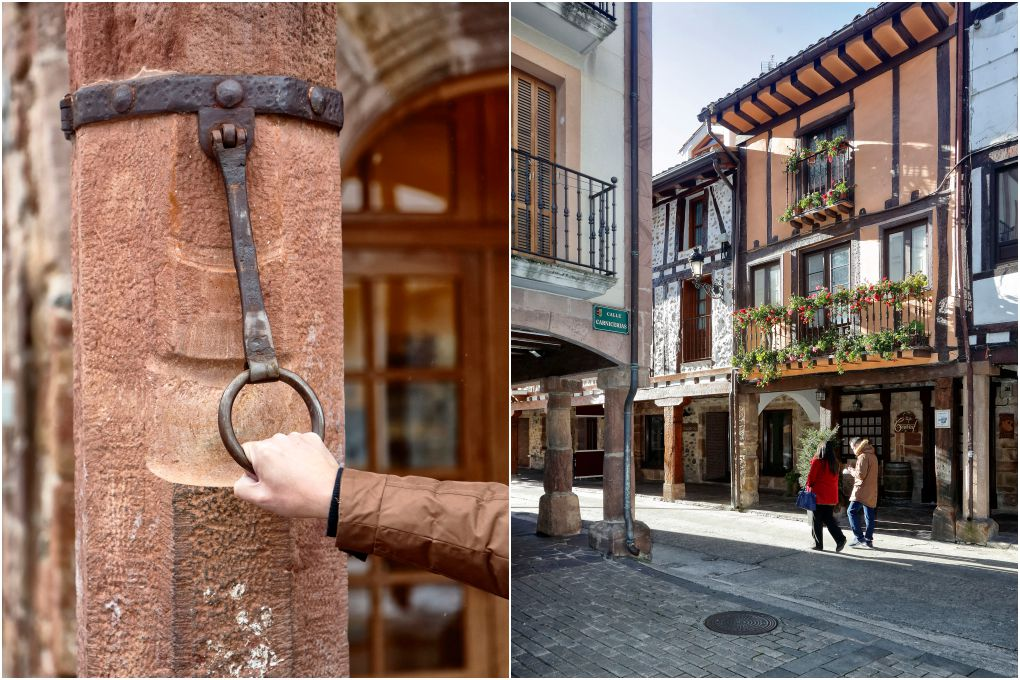 La famosa argolla de la plaza de la Verdura y los balcones adornados con flores.