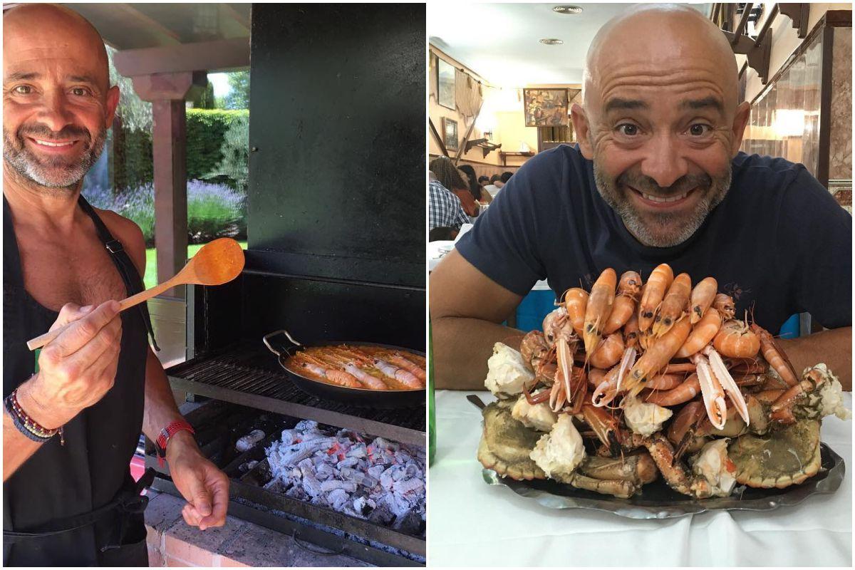 """En su casa de Majadahonda preparando un """"arroz imperial"""" y dándose un homenaje en Ribeira do Miño. Fotos: Instagram."""