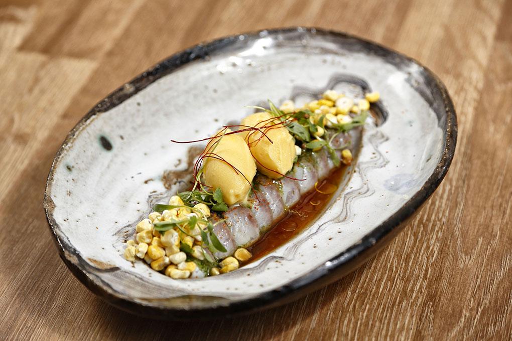 Corvina estilo nikkei con caldo ponzu, tobiko-wasabi, maíz y plancton.