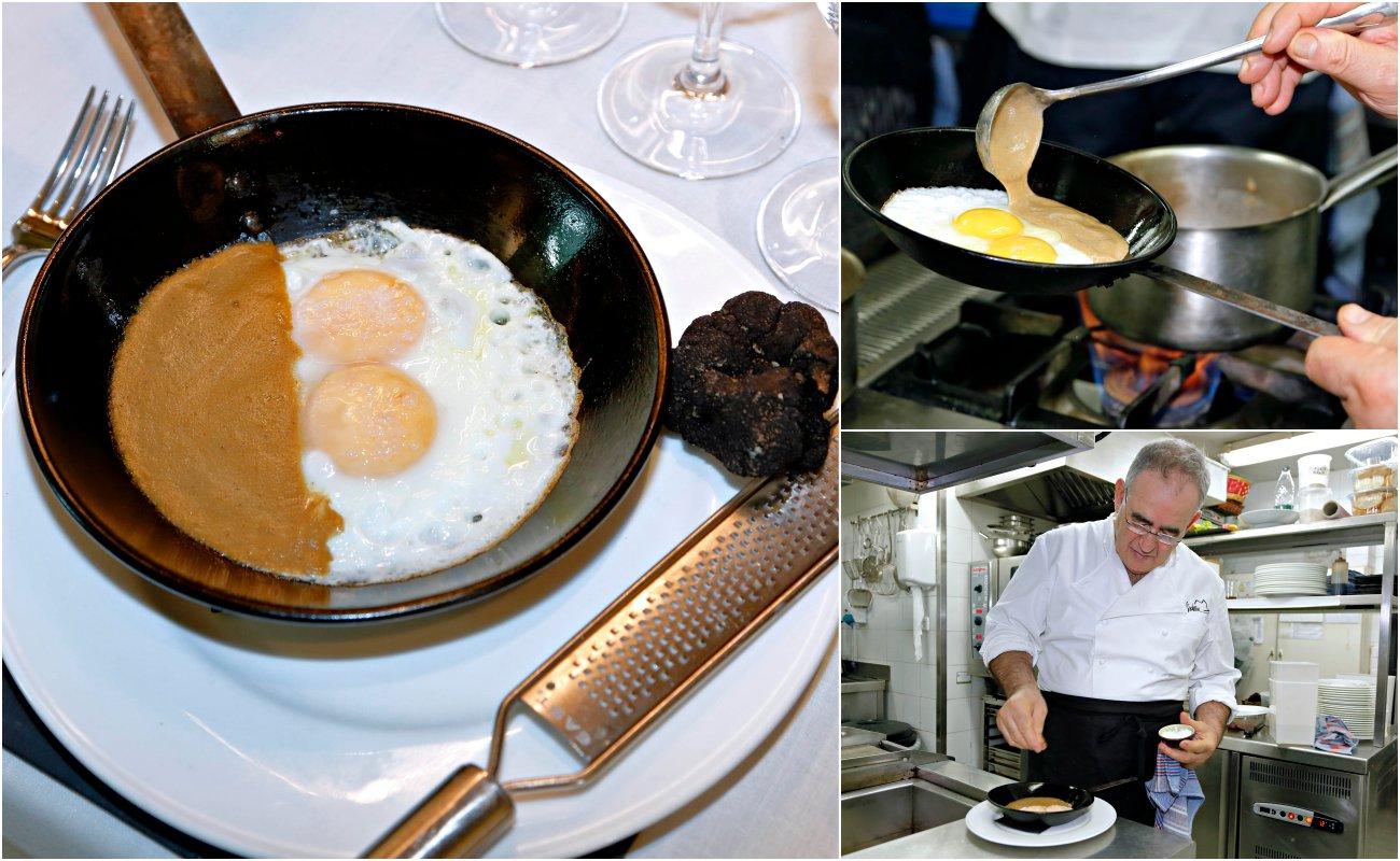 Viridiana: elaboración de huevos sobre 'mousse' de hongos y trufa.