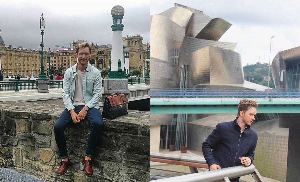 Rivero en uno de sus viajes a San Sebastián y Bilbao.