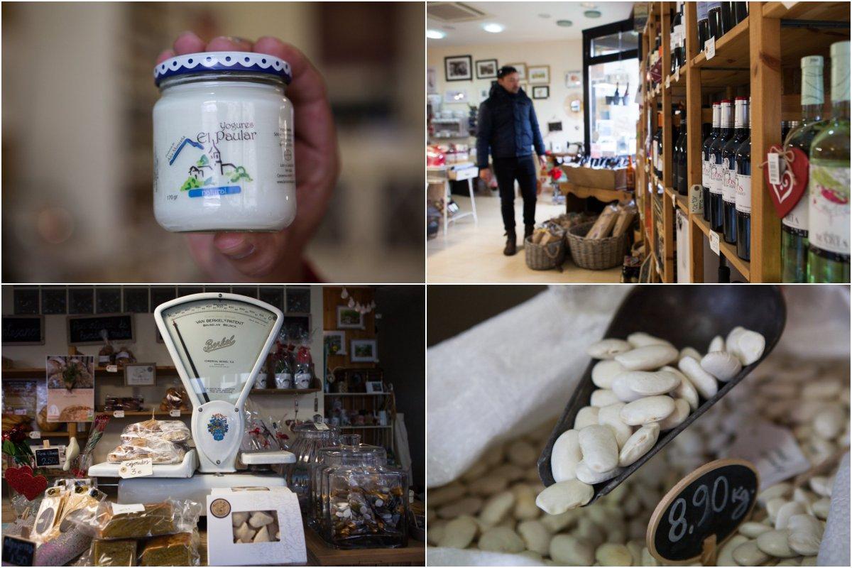 Yogures, cervezas, dulces, legumbres, quesos, mieles, artesanía, joyas, pinturas... todo local.