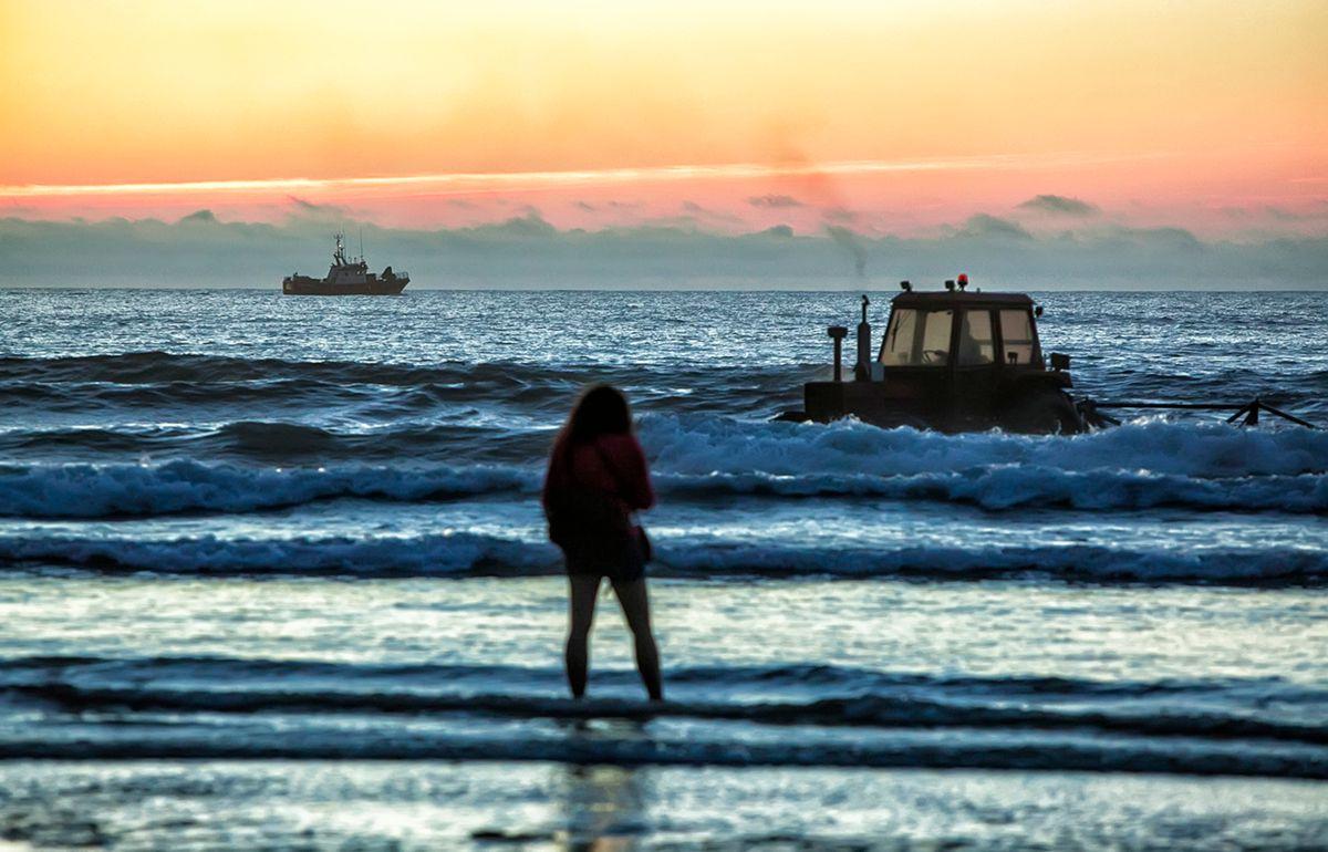 A lo lejos, un barco fondea los campos de algas.