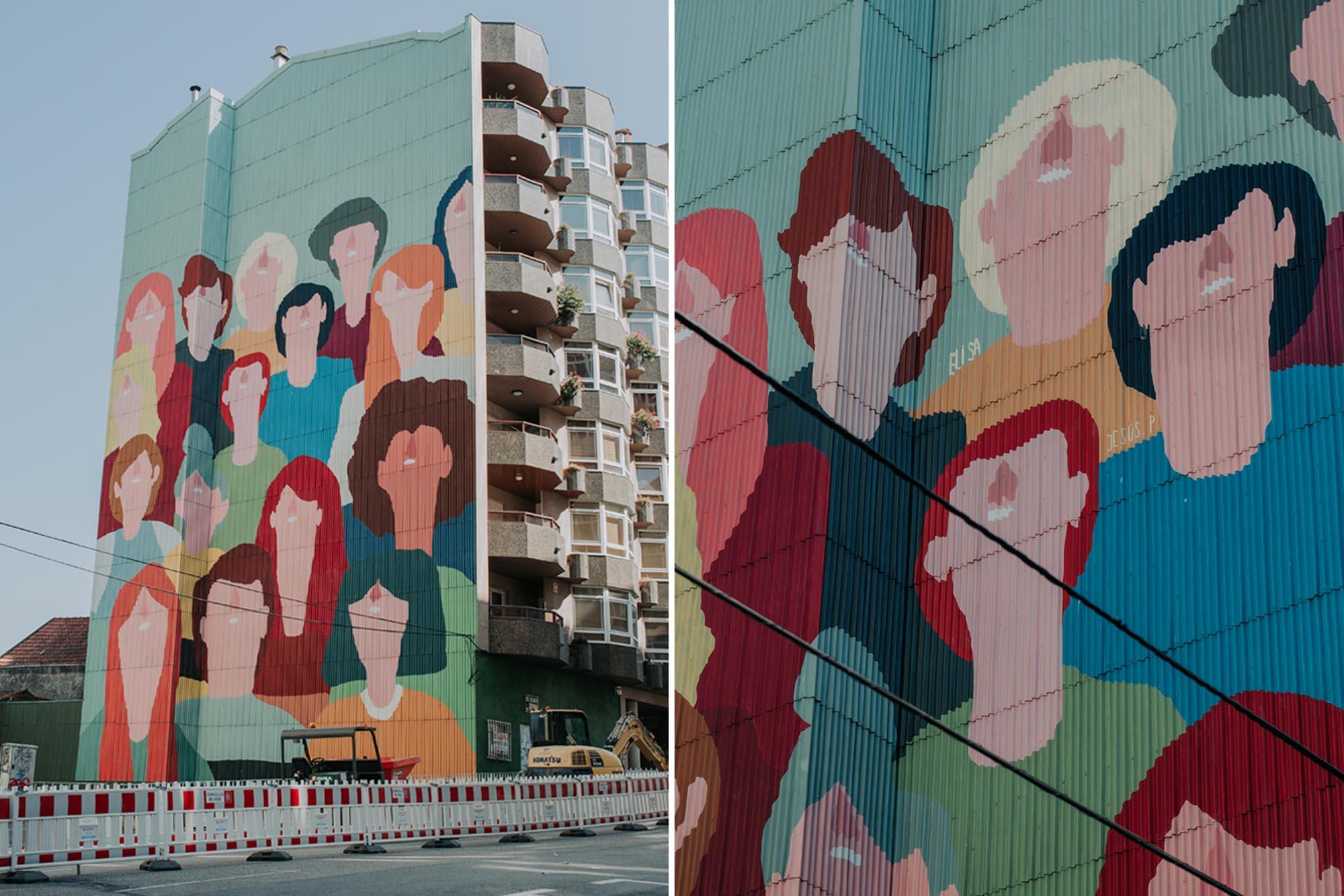 El grafiti pintado por Elisa González se erige sobre una de las grandes arterias de la ciudad.