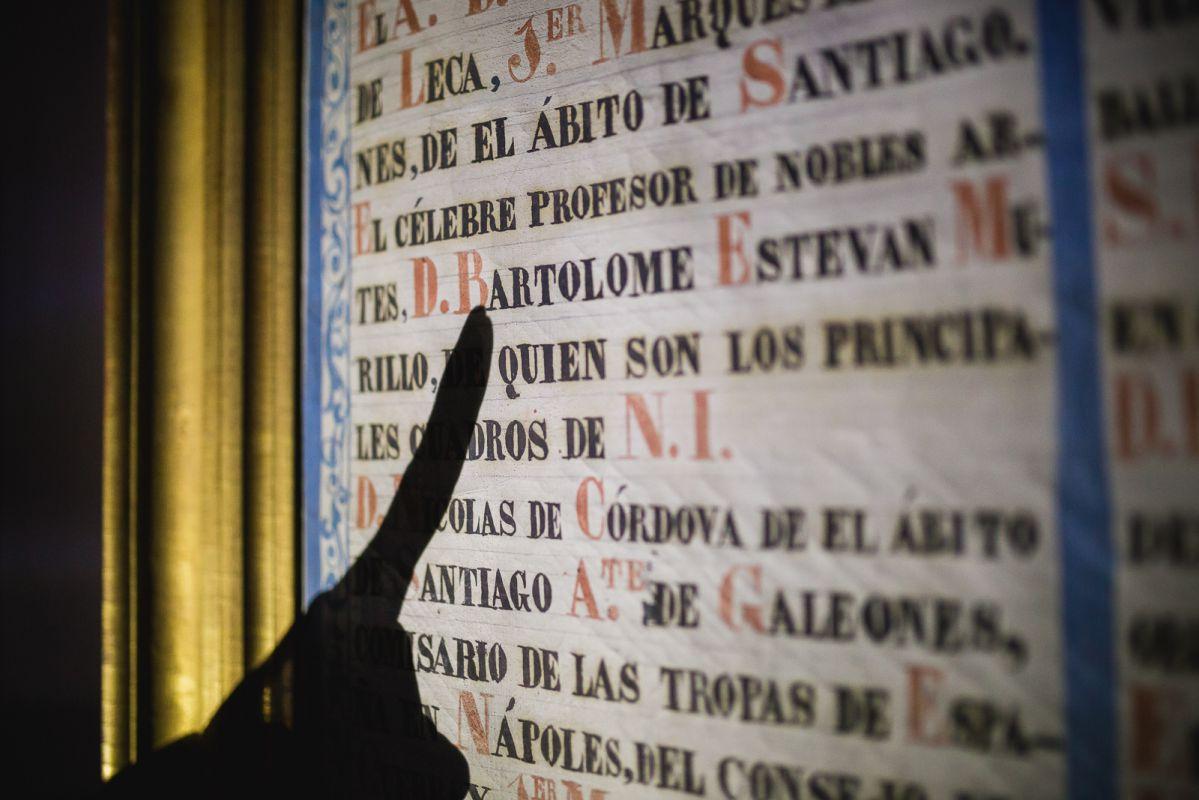 La guía señala la parte del documento donde indica que Murillo perteneció a la hermandad del Hosital de la Caridad, Sevilla.