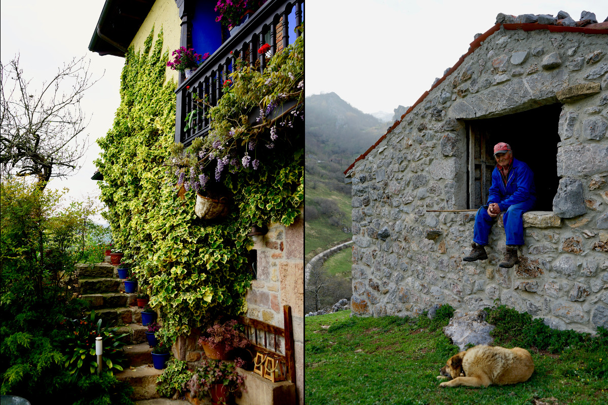 Casa de 'La Cueste' y Baltasar vigilando su ganado.