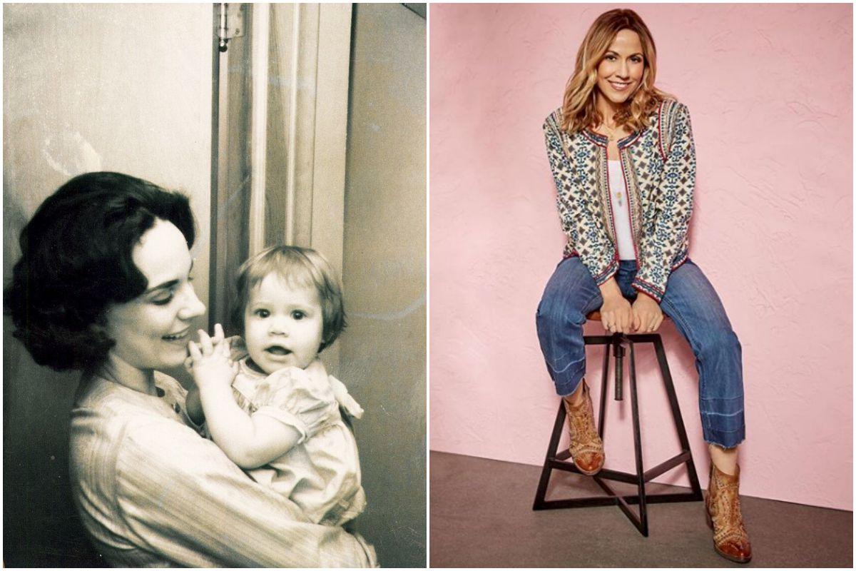 Sheryl Crow de bebé con su madre en una foto antigua, y la artista en la actualidad.