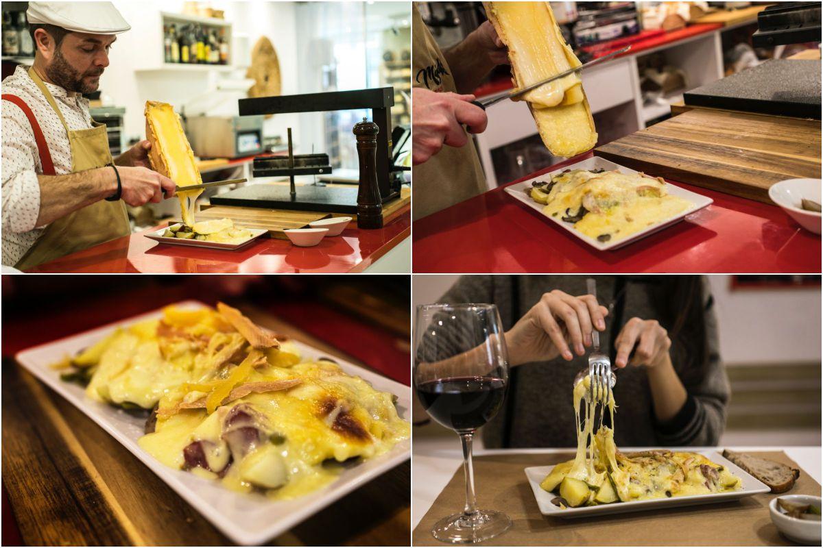 Preparando la 'raclette', un plato consistente, de origen suizo, hecho con leche cruda de vaca.