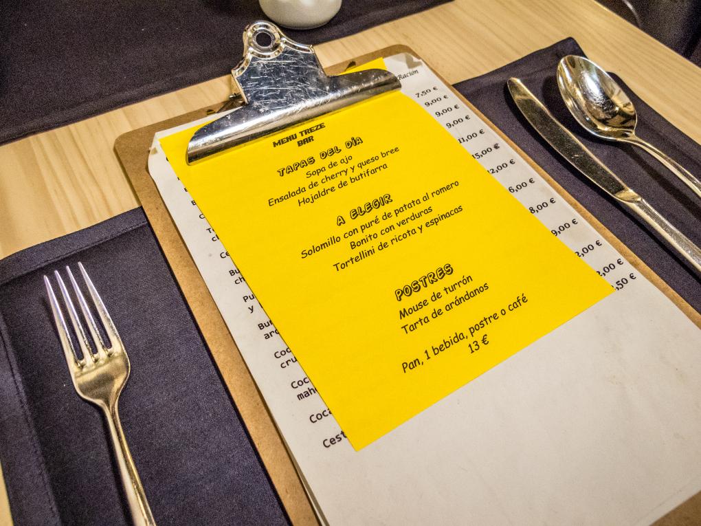 El menú del día de Treze cambia cada día.
