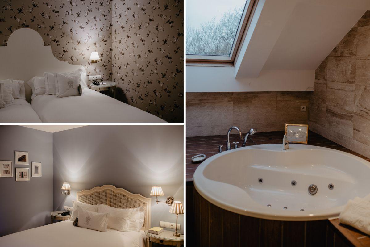 Las habitaciones forradas con papel de pared y fotos, y el jacuzzi de la 'suite'.