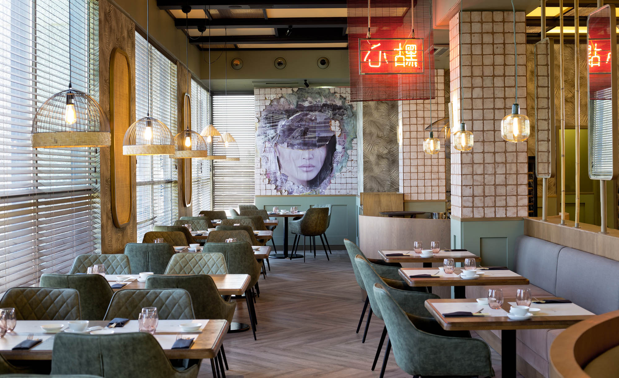 Detalle del mural del salón. Foto: 'Hot Bao'.