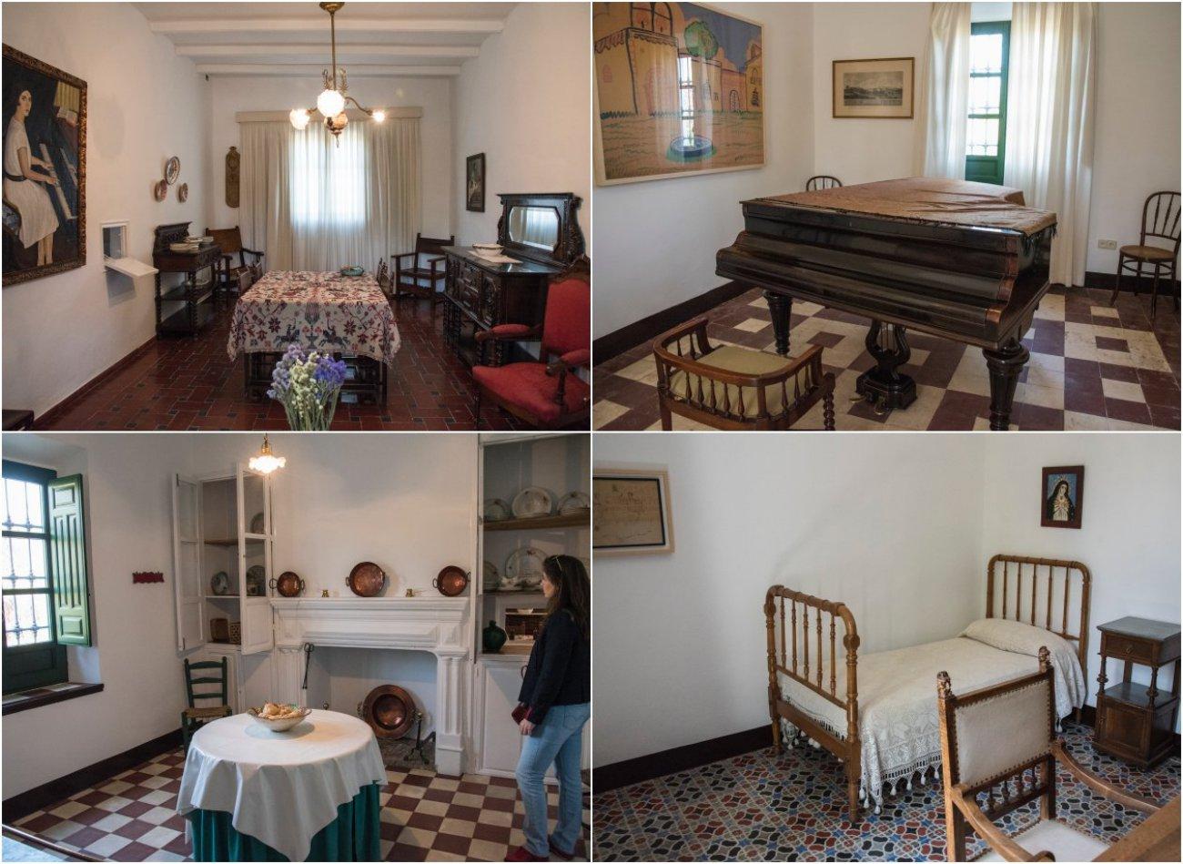 Distintas estancias de la Huerta de San Vicente donde vivió la familia García Lorca.