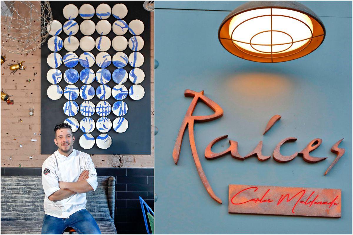 Carlos posando junto a su calavera de porcelana. A la derecha, detalle de la fachada del restaurante.
