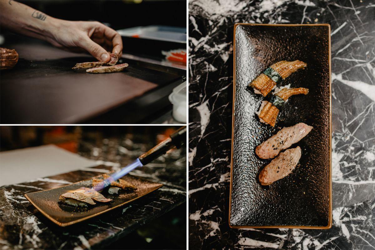 Preparación de la picaña, golpe de soplete y los nigiris de picaña y angula.
