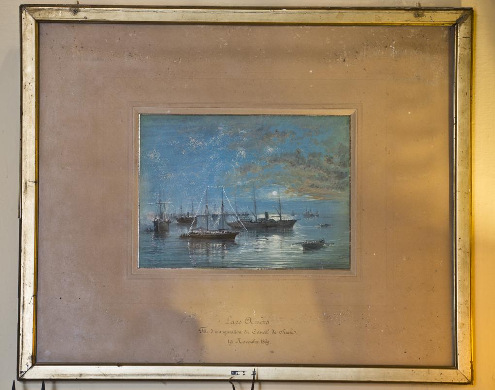 Lámina del Palacio de las Dueñas. Los barcos engalanados para inaugurar el Canal de Suez. Foto: Sofía Moro.
