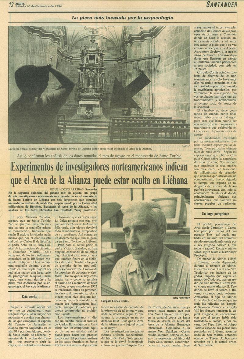 Artículo de prensa del 19 de diciembre de 1994 sobre la búsqueda del Arca de la Alianza en Liébana.