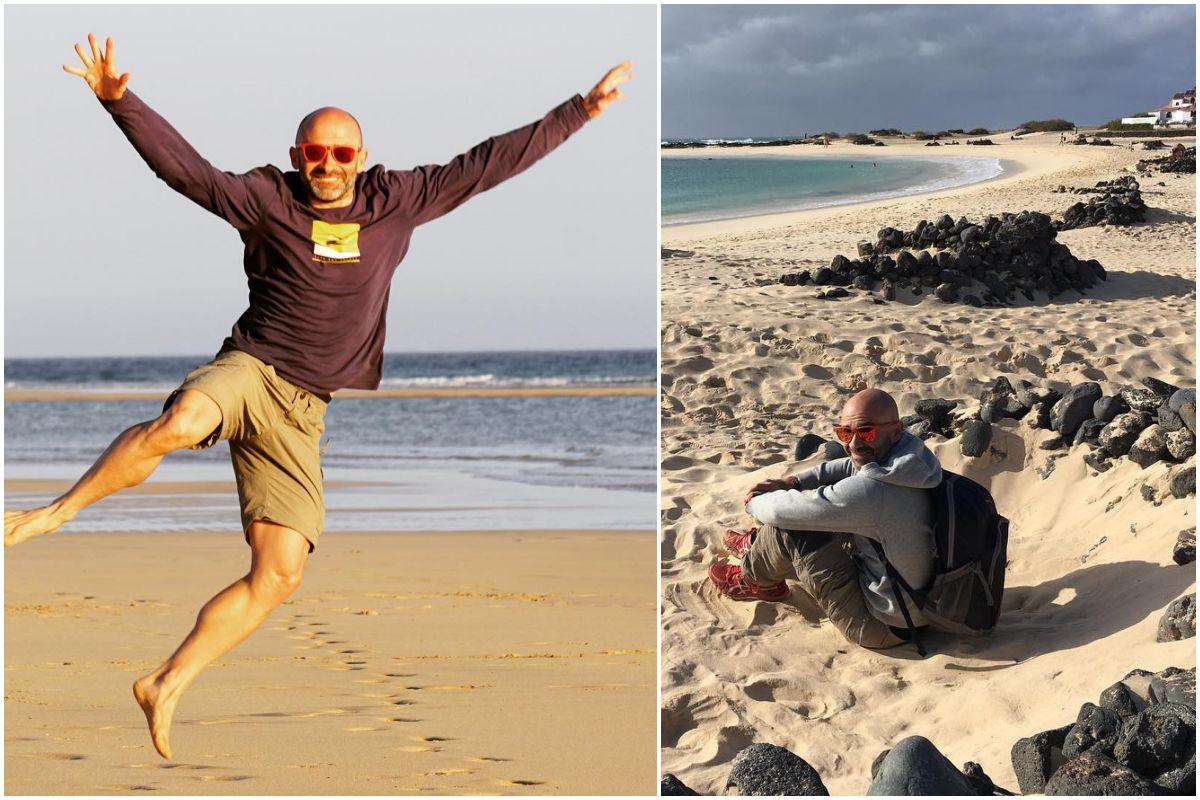 Disfrutando del sol de invierno en las playas de Fuerteventura.