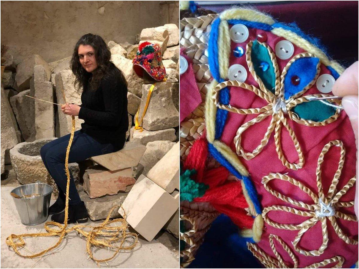 Artesanía La Gorra: la artesana María José González y detalle de una de sus obras.