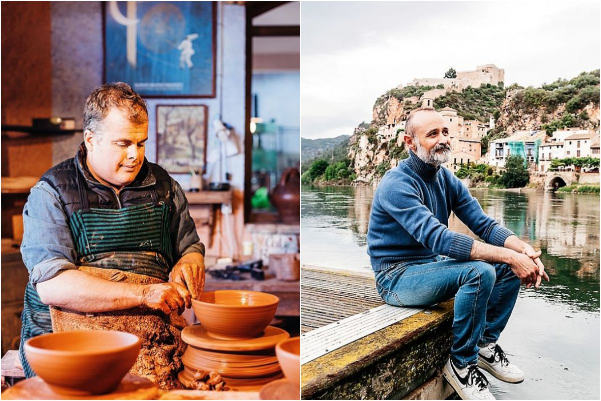 Collage de un alfarero y otro chico en Miravet. Foto: Flaminia Pelazzi