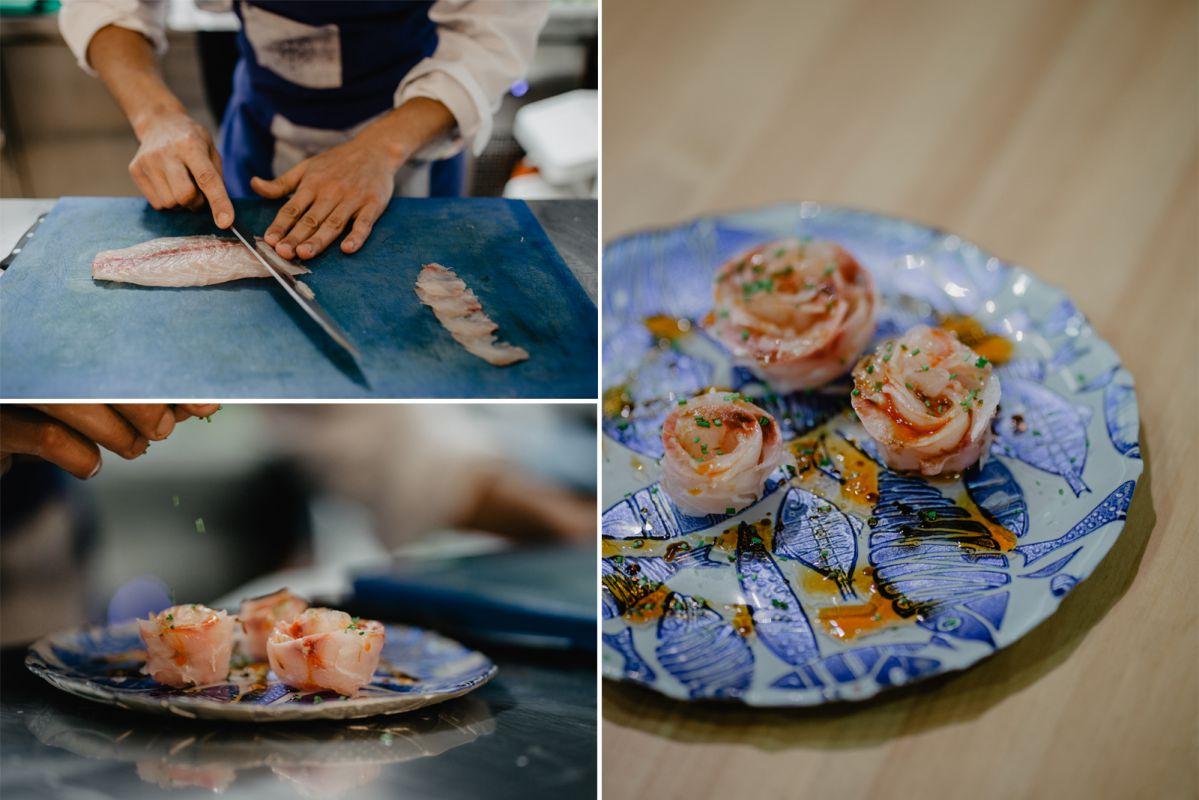 El corte, preparación y presentación del 'bicudo á feira' marinado con aceite y pimentón.