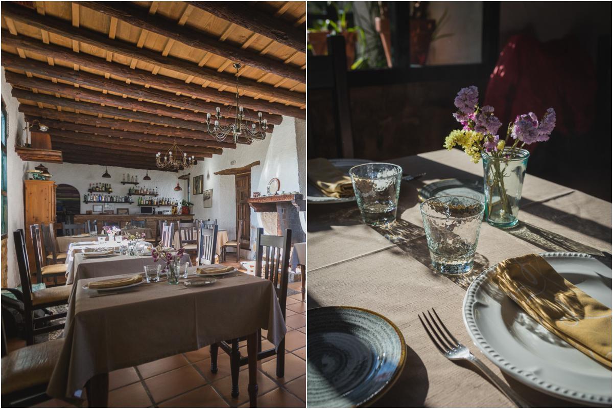 Detalles del restaurante Arrieros en Linares de la Sierra, en el Parque Natural Sierra de Aracena y Picos de Aroche, Huelva.