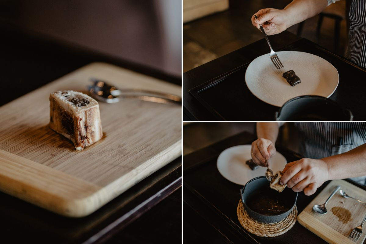 Preparando la lamprea en el restaurante 'Alborada'.