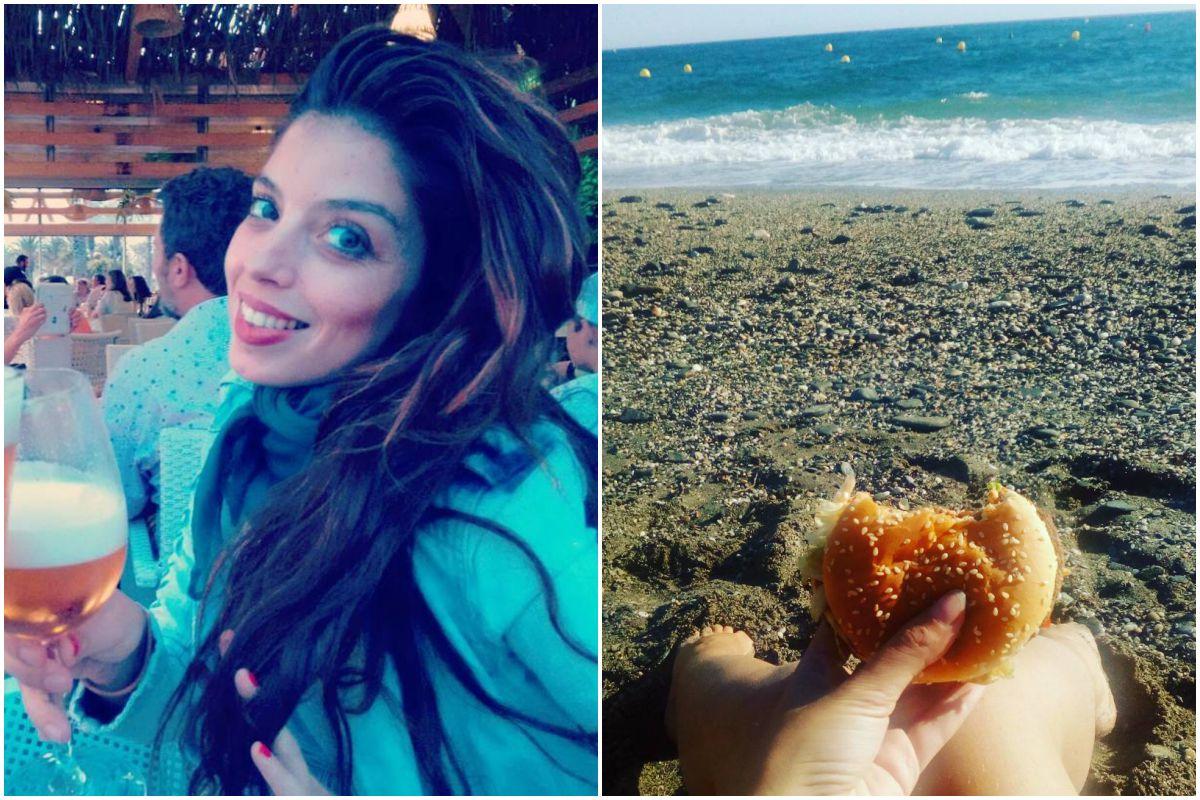 Soleá Morente descansando en la playa tomando una cerveza y comiendo una hamburguesa. Fotos: Instagram