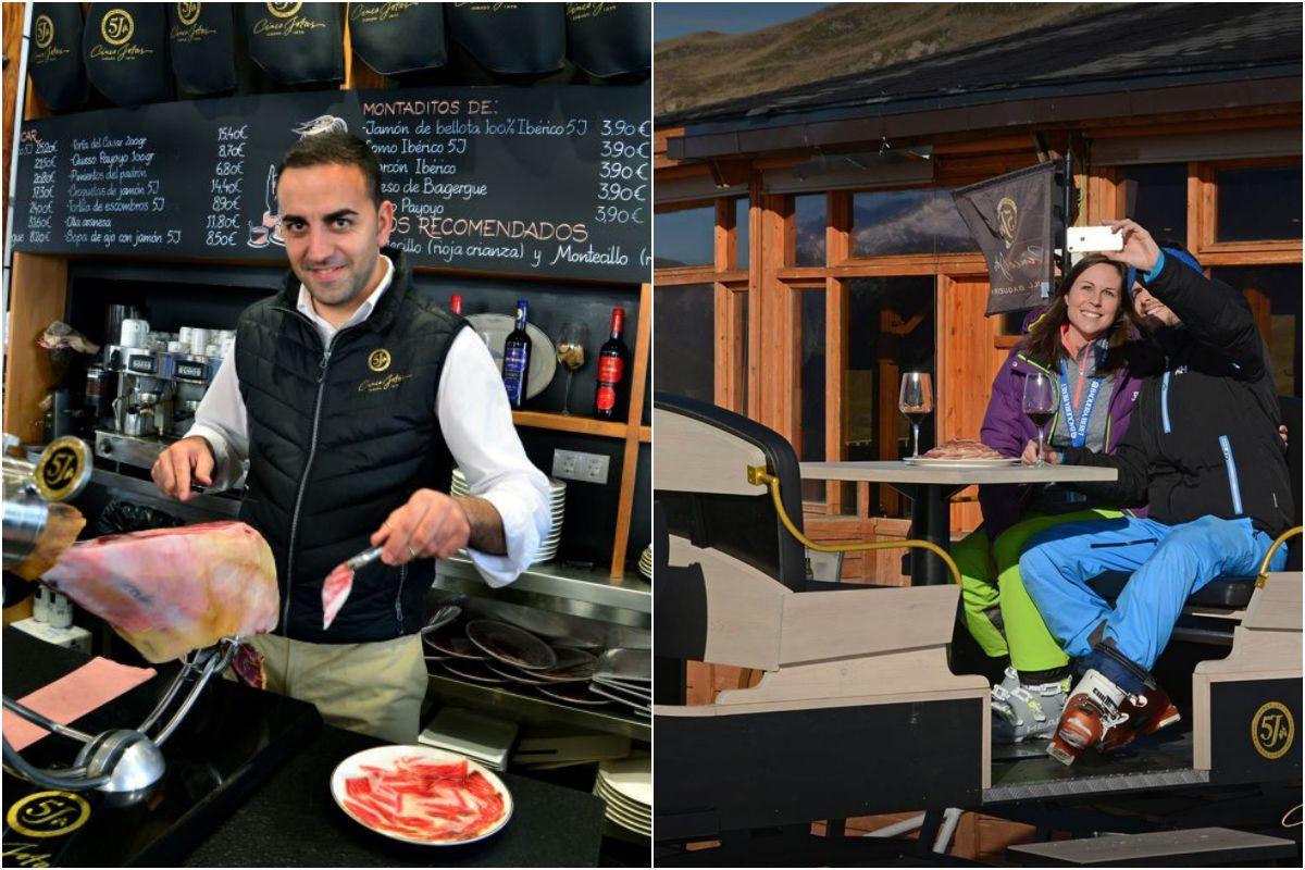 Jose no para de cortar jamón mientras, en la terraza, los 'selfies' también se suceden. Fotos: Alfredo Merino y Facebook.