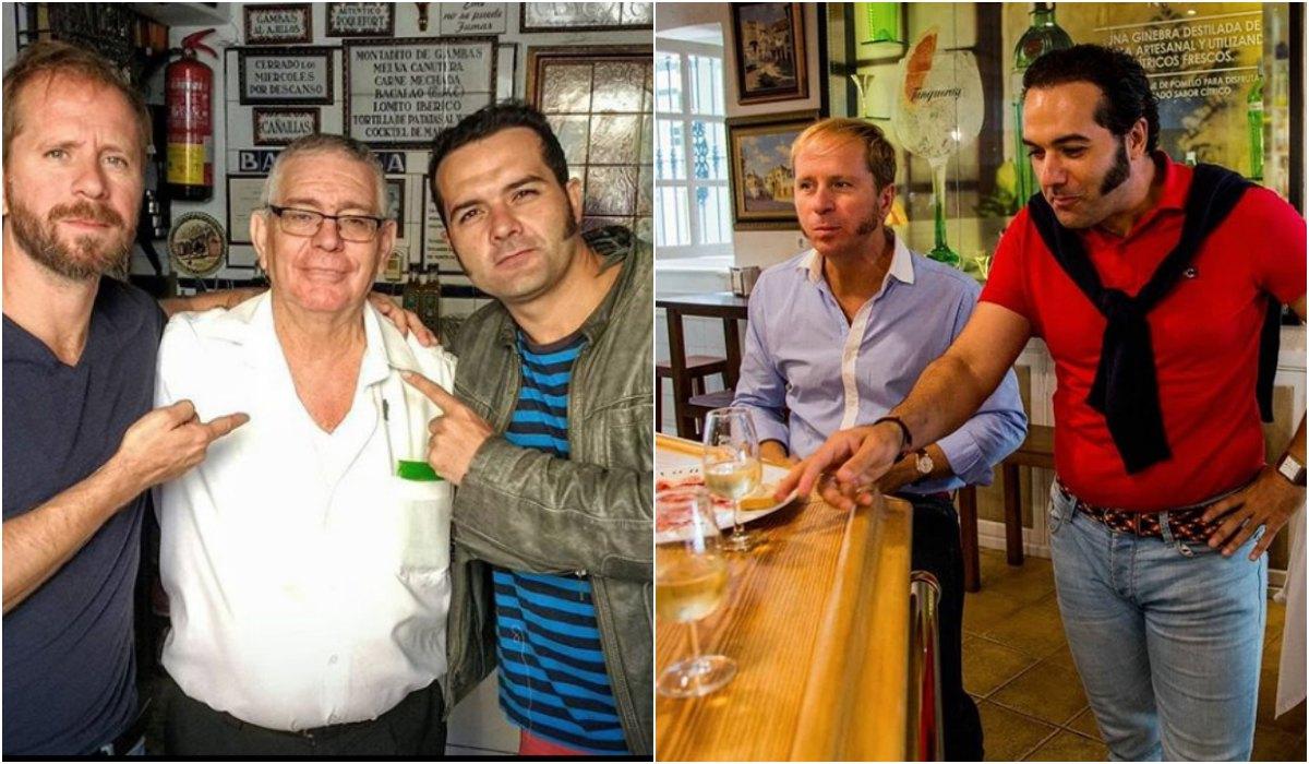 Con el dueño del 'Bar Eme', en Sevilla. A la derecha, tapeando en una taberna de la ciudad. Fotos: Instagram.
