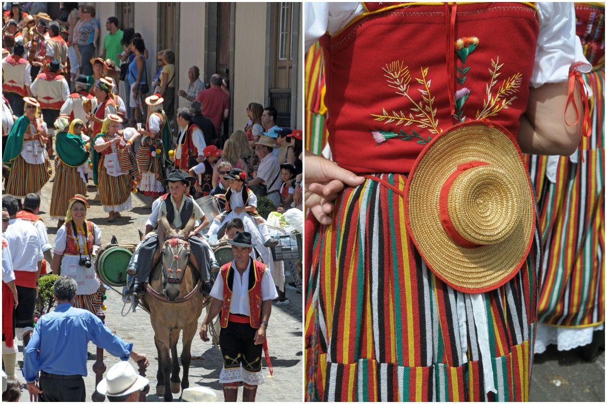 Composición de una vista de la calle con los niños de la romería de La Orotava montados en un burro, y detalle de traje de campesina, en Tenerife.