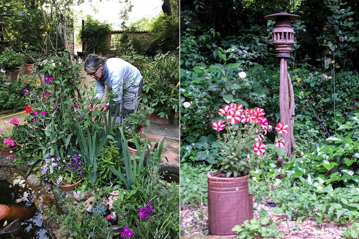 La dueña, Belén Acera, arregla su jardín, lleno de pequeños detalles. | Foto cedida por Belén