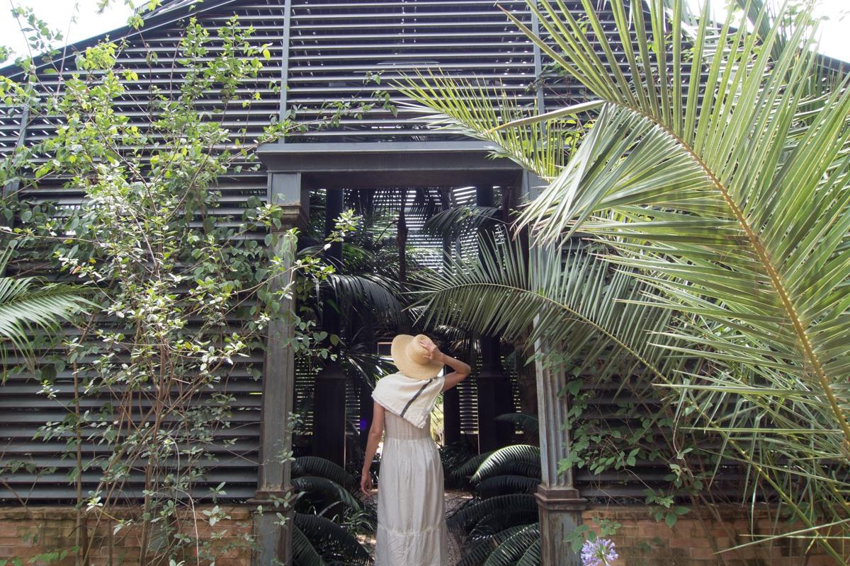 El umbráculo alberga palmeras, helechos y otras plantas tropicales.