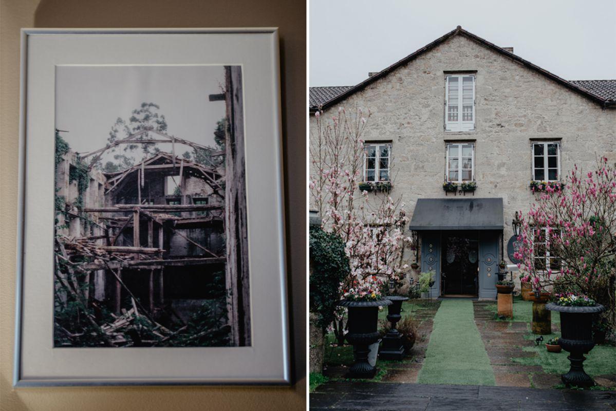 El antes y el después de 'A Quinta da Auga'. La Naturaleza se había comido el edificio. Foto: Nuria Sambade