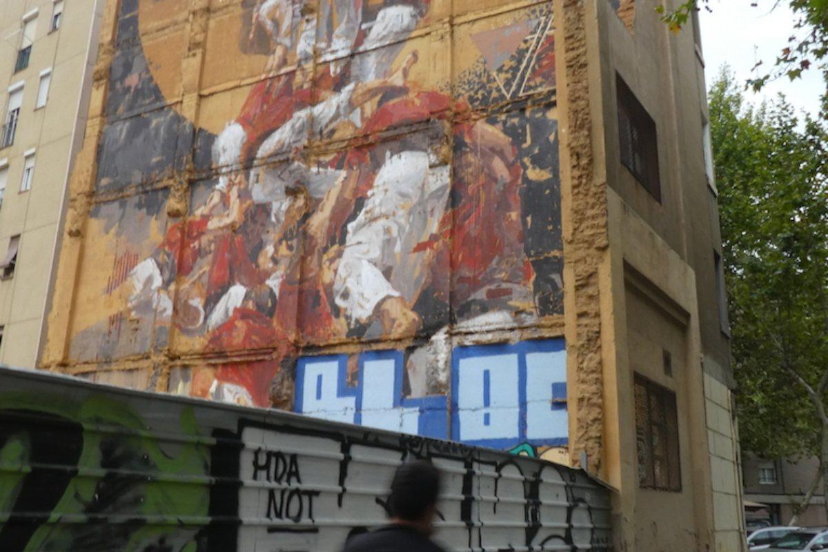 Los 'castellers' de la esquina de la calle Pujades con Lope de Vega.