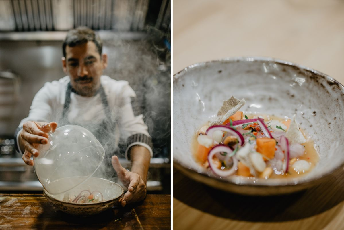 Juan Carlos Perret muestra la presentación final del ceviche de besugo con boniato glaseado y ají limo.