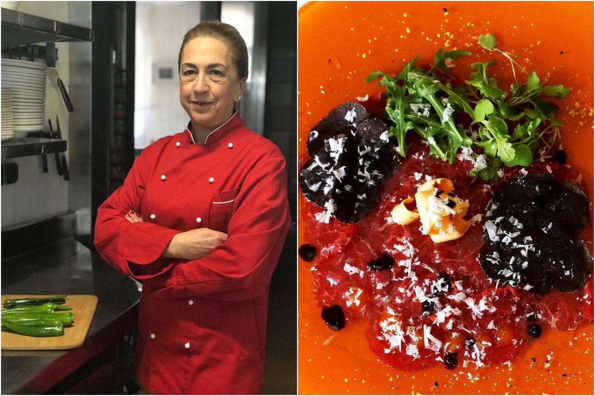 Esther Álvarez y uno de sus platos, el carpaccio de solomillo. Fotos: Restaurante Alameda.